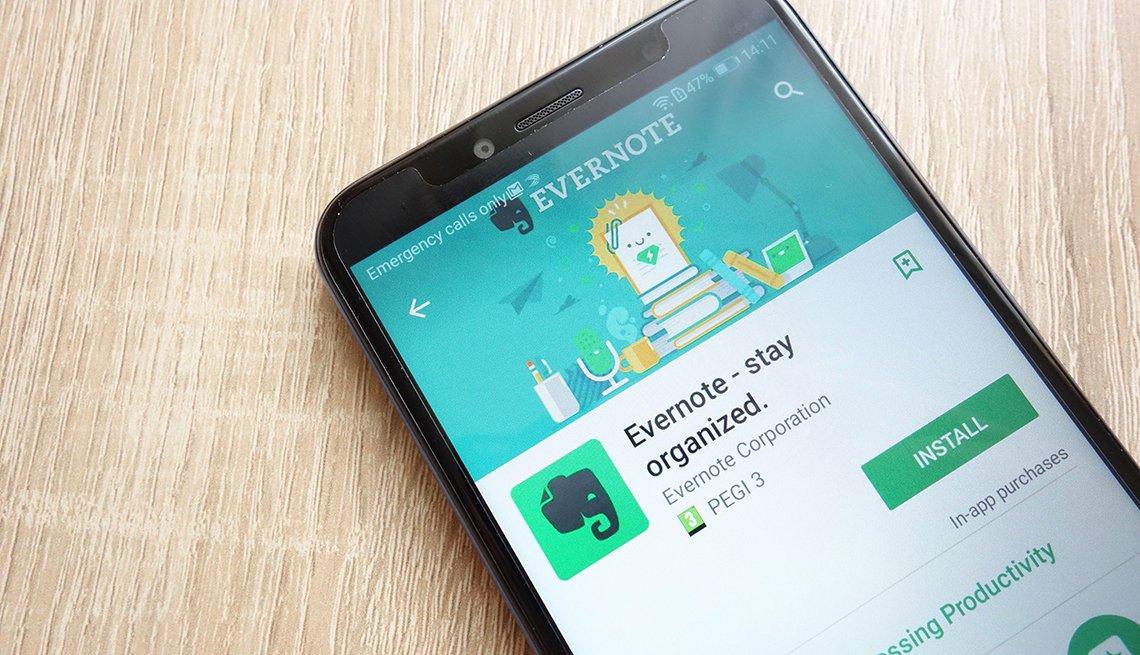 Aplicación Evernote en teléfono inteligente