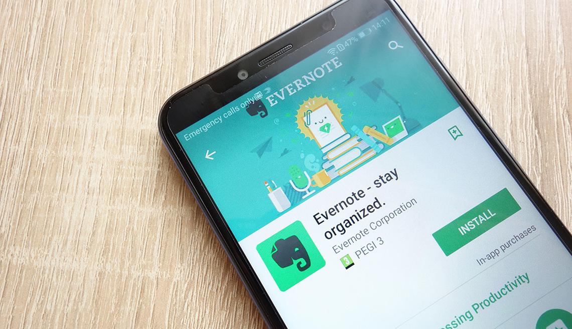 Evernote app on smartphone