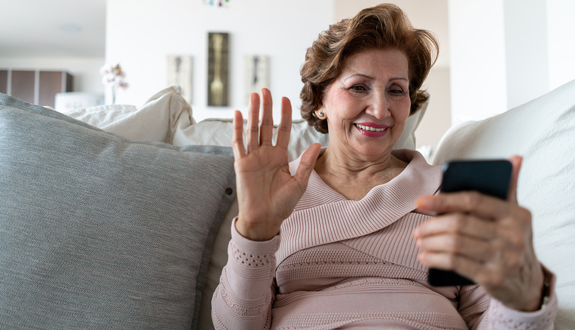Woman answering a video chat call