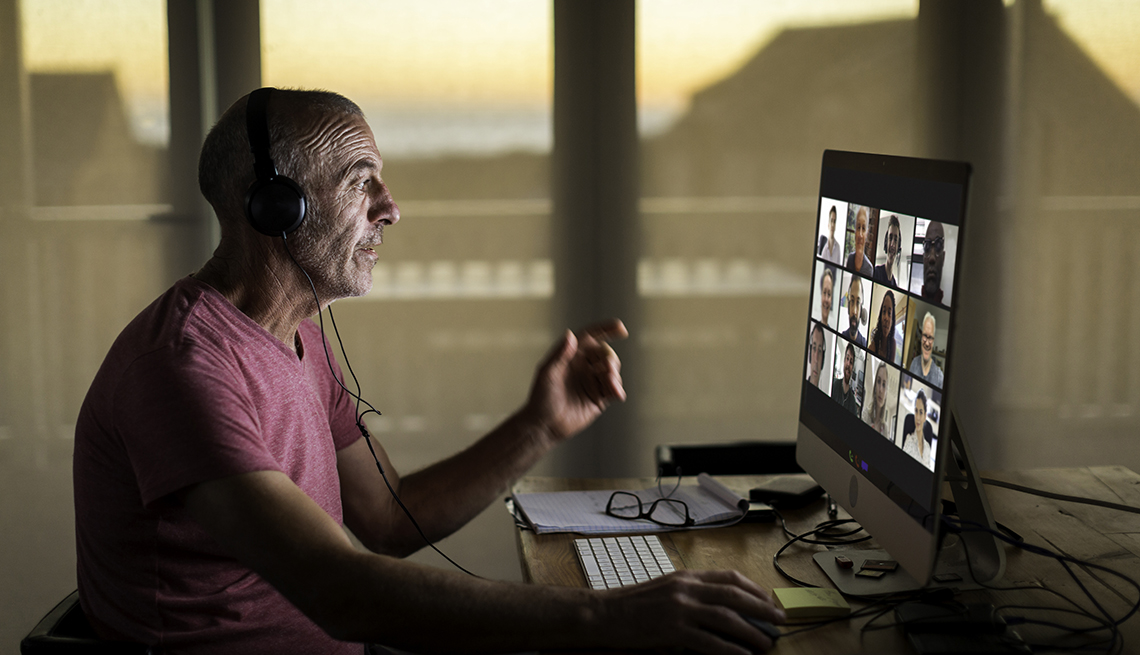 Businessman video conferencing from home