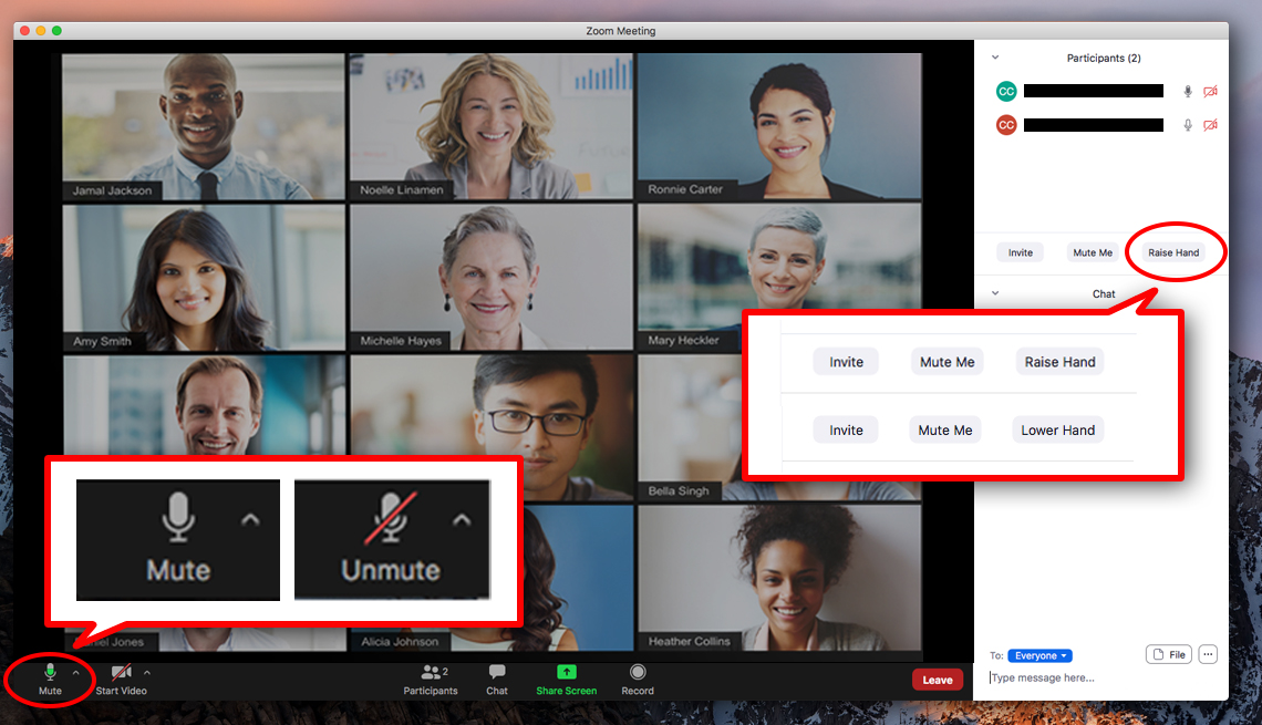 example zoom meeting with icons for mute unmute raise hand and lower hand highlighted