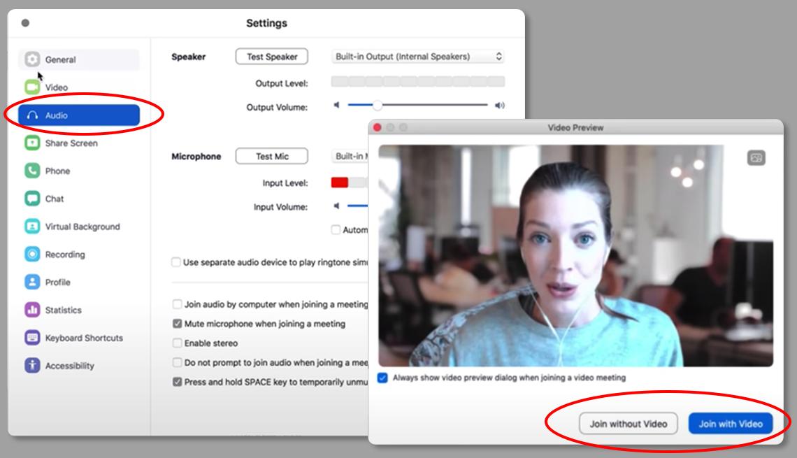 Captura de pantalla muestra las opciones de configuración de audio y video de Zoom