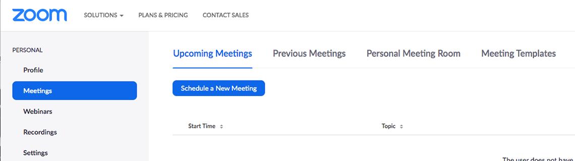 Captura de pantalla del sitio web de Zoom que muestra el botón para programar una nueva reunión