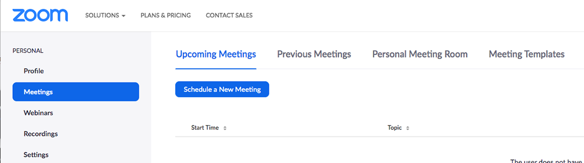 screenshot from zoom website showing the button to schedule a new meeting