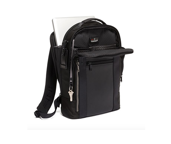 TUMI backpack with a laptop inside