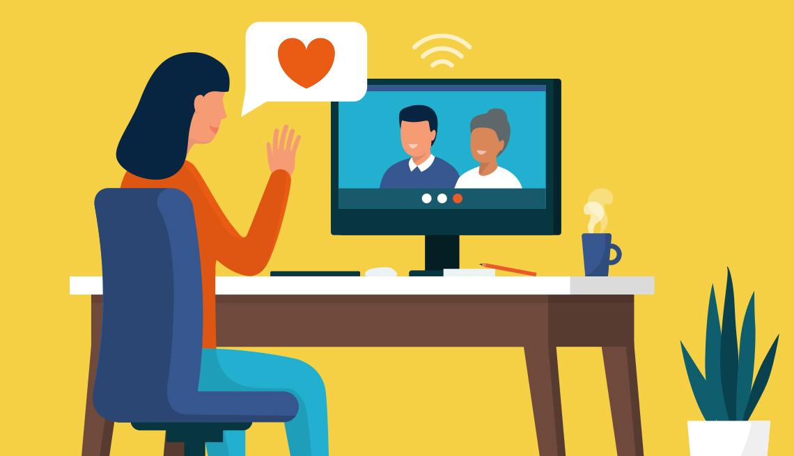 Gráfica de una mujer frente a un escritorio en casa conversando con sus padres en una computadora de escritorio