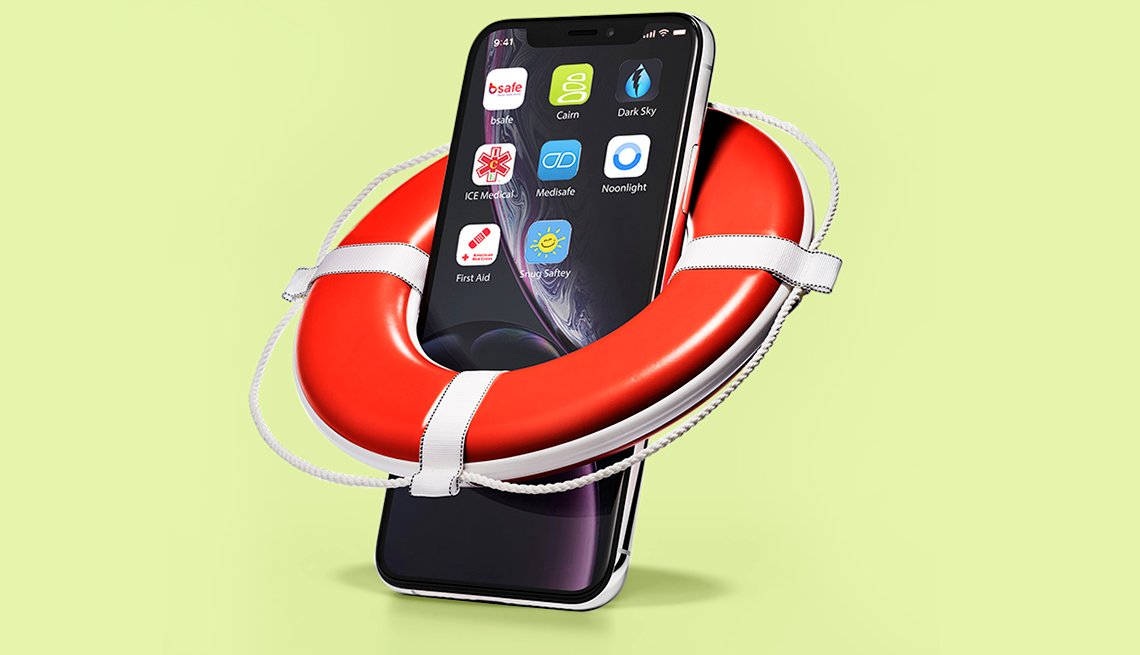 smartphone showing safety apps on its screen and wearing a miniature ring buoy life preserver