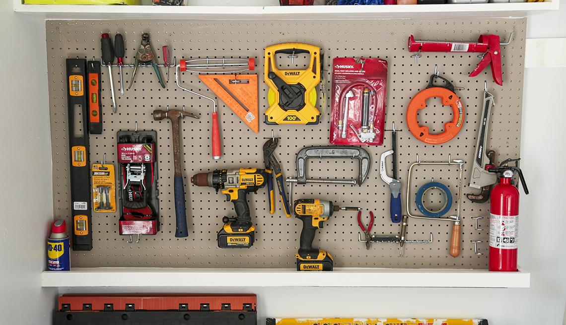 An organized tool shelf
