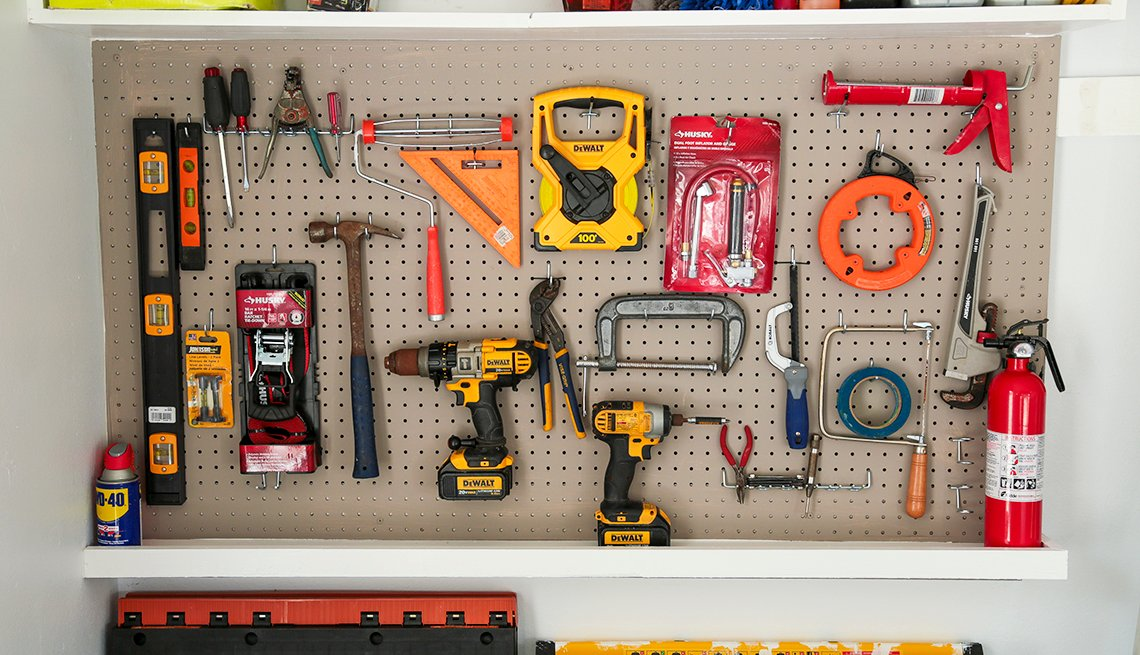 An organized tool shelf