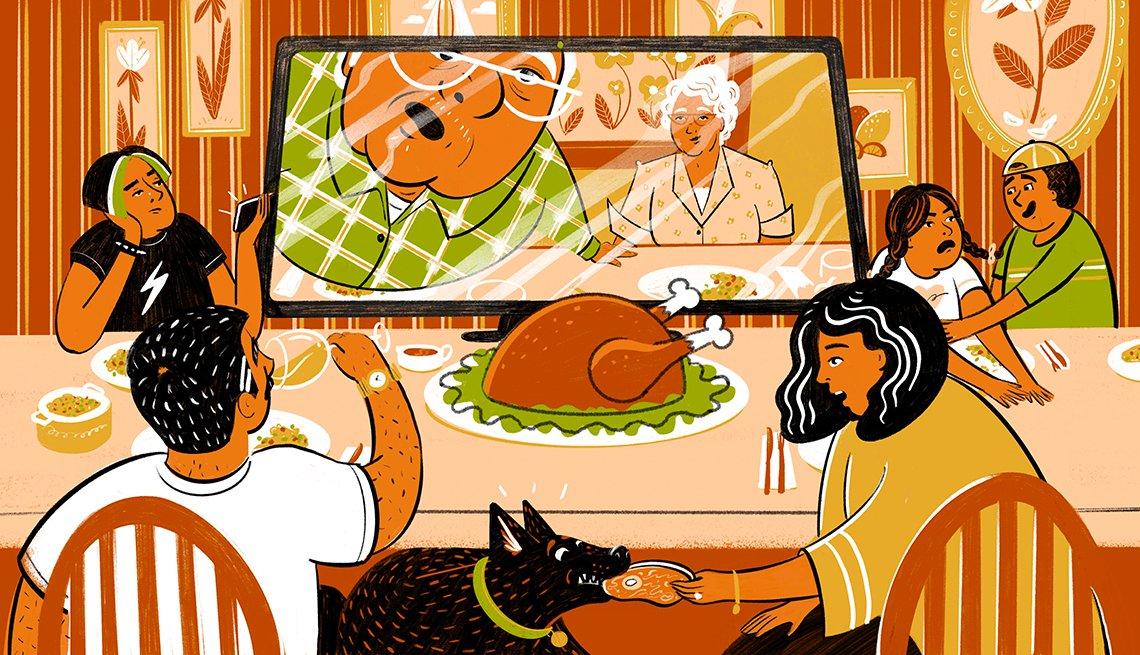 Ilustración de una familia comiendo la cena de Acción de Gracias