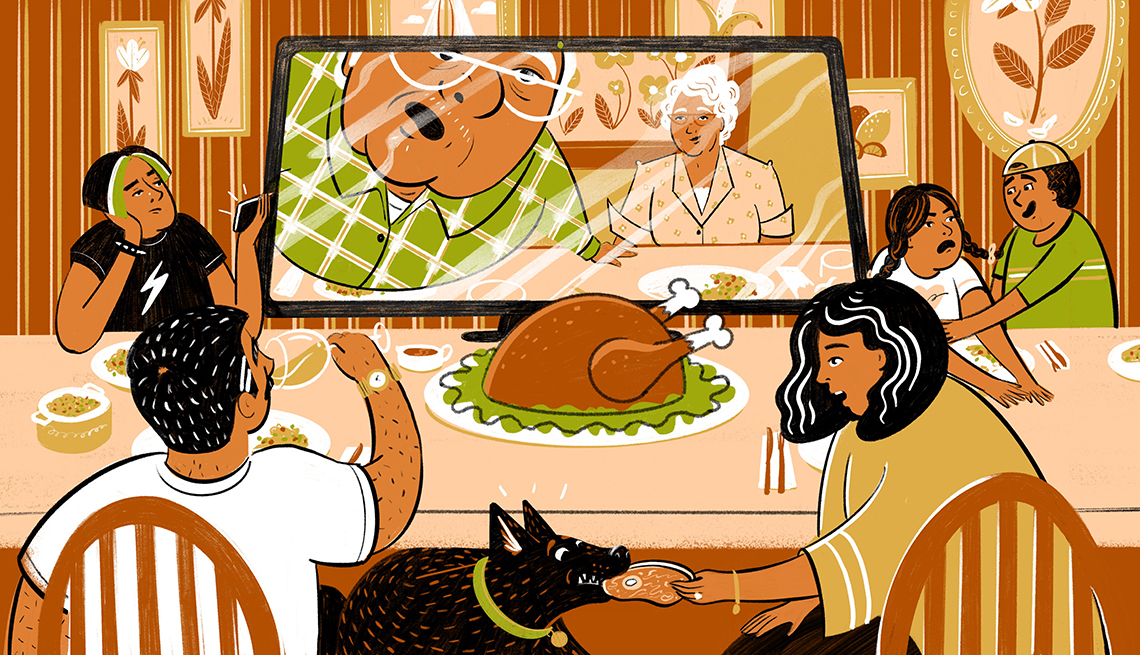 illustration of a family eating Thanksgiving dinner in front of a large tv monitor showing the grandparents also having dinner