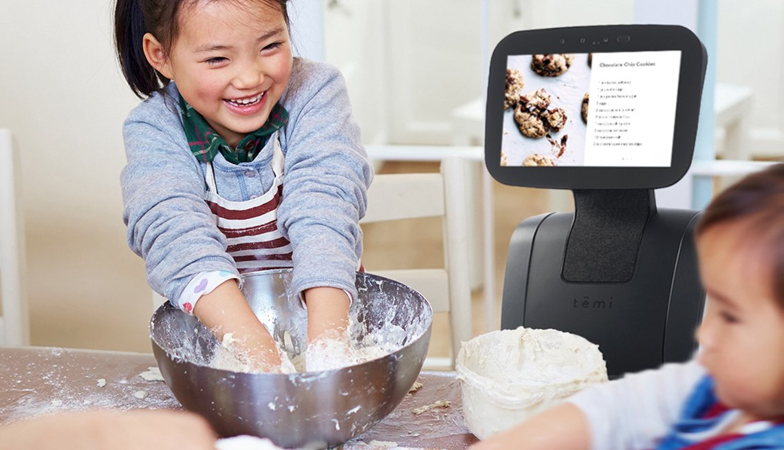 Temi robot reads recipe to kids baking