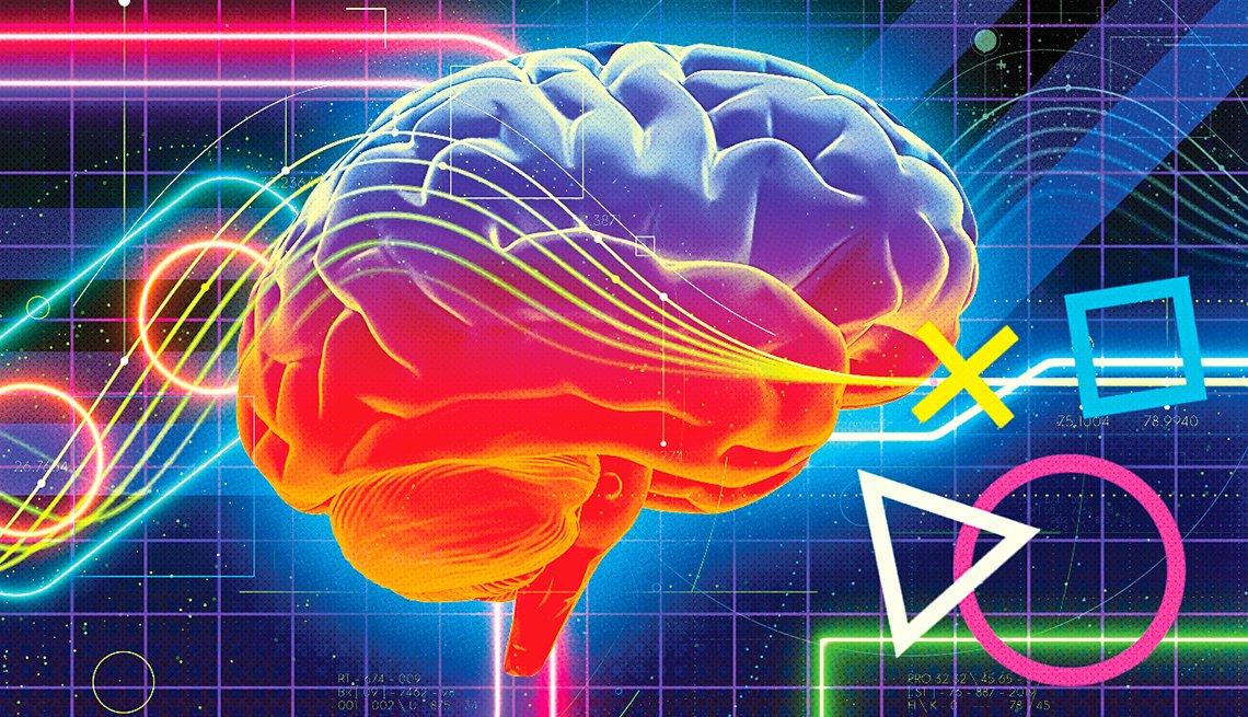 Ilustración del cerebro con un fondo del videojuegos