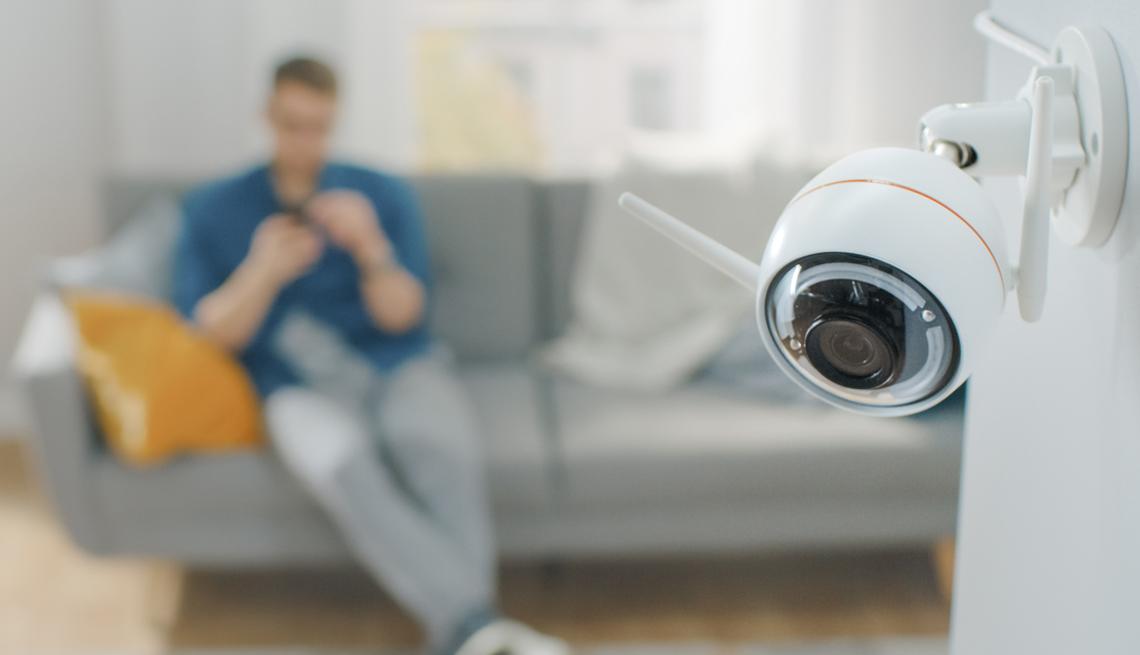 home security camera inside a house