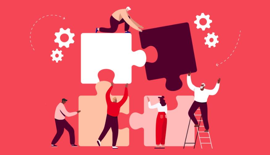 Ilustración de personas que resuelven juntos un rompecabezas gigante