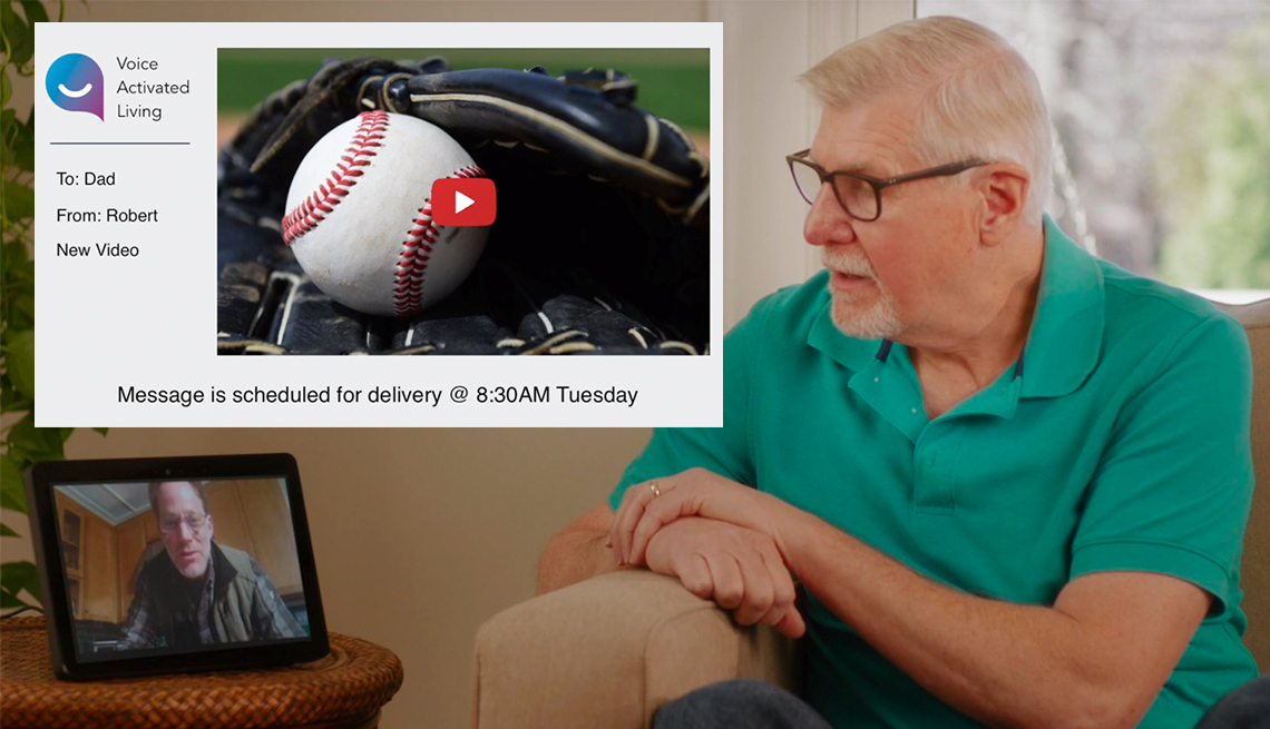 item 2 of Gallery image - mature man using voice activated living technology to see a video message from his so