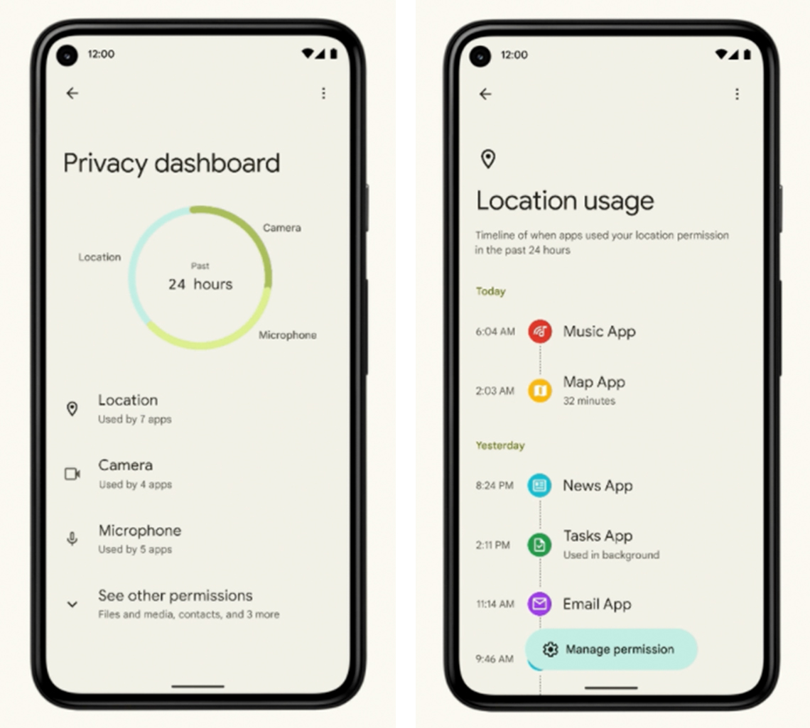 Captura de pantalla del panel de privacidad de un teléfono Android