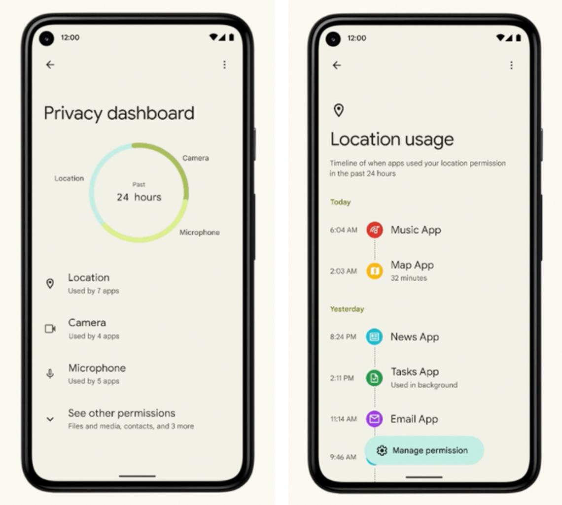 screenshot of android privacy dashboard in september twenty twenty one