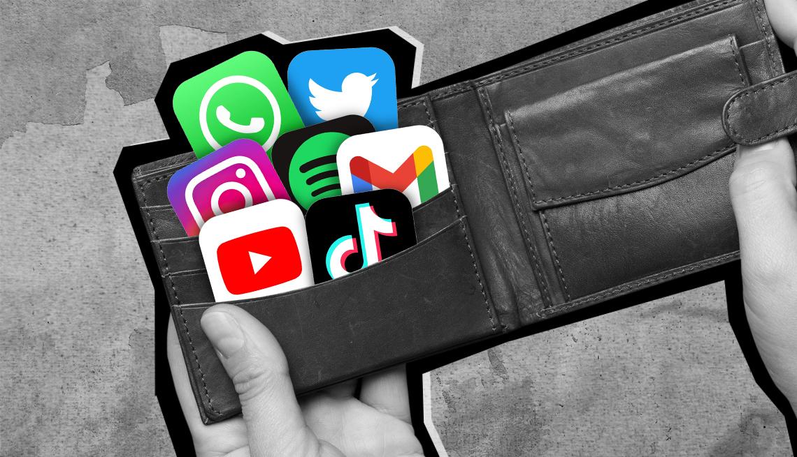 Manos abriendo una billetera con íconos de aplicaciones
