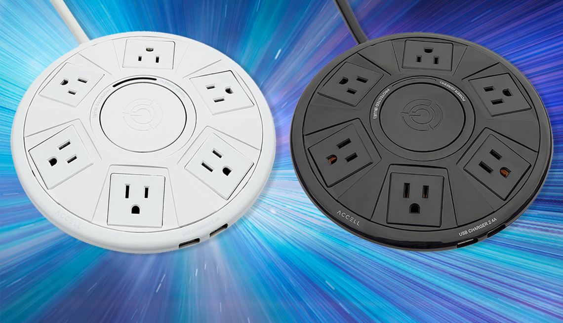 item 1 of Gallery image - the accell six outlet extender in white and black