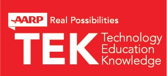 Technology Education Knowledge - AARP Real Possibilities - Logo for White Text