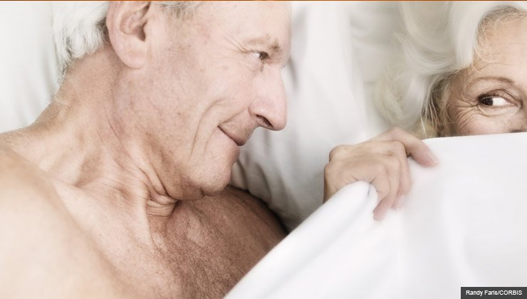 Senior Couple Flirting in Bed, Older Men- 6 Keys to Enhancing Erotic Arousal