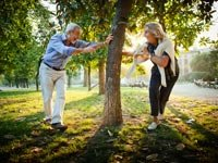 Senior couple playing a game of Tag - Great First Date Places