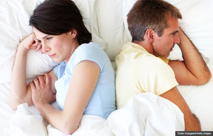 Unhappy couple in bed facing away, Sex therapy