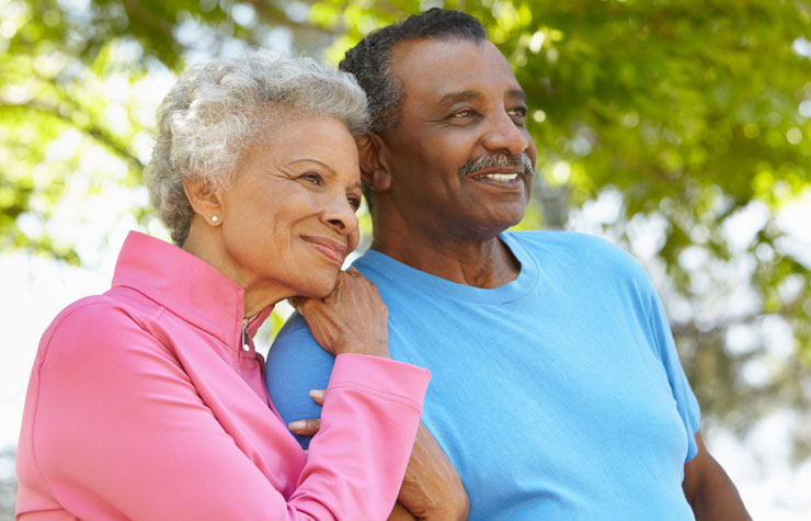 Romantic Senior African American Couple, friends With Benefits at 50+