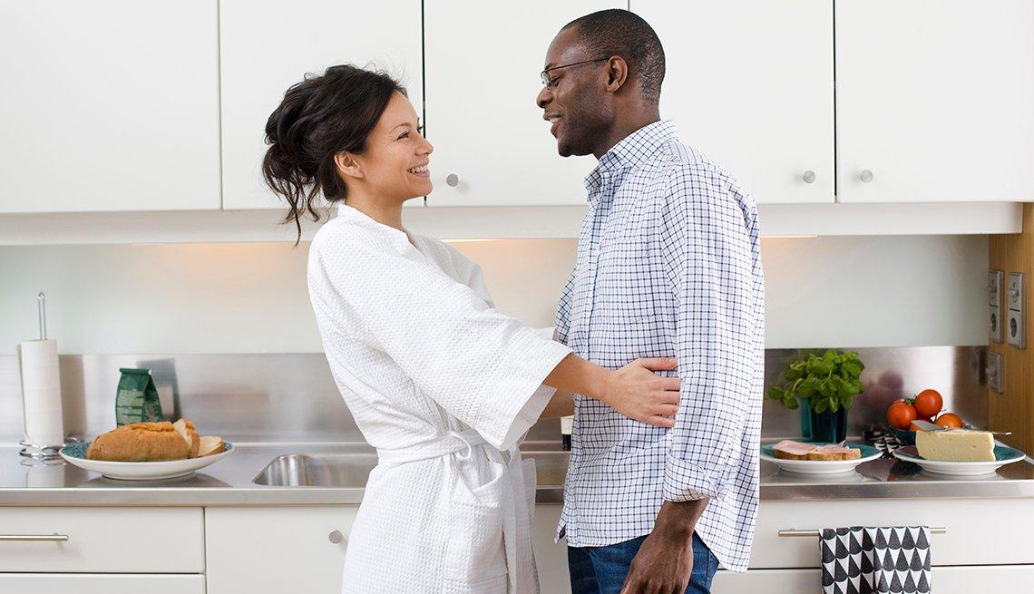 Woman Bathrobe in Kitchen, Couple Talk, Sandwich Making, Ways to Celebrate Your Spouse