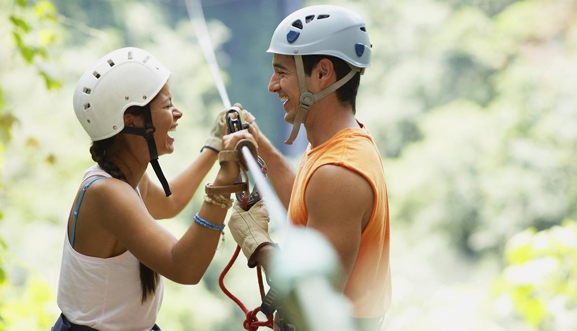 Couple Laughing, Zipline in Trees, Ways to Reconnect with Your Partner