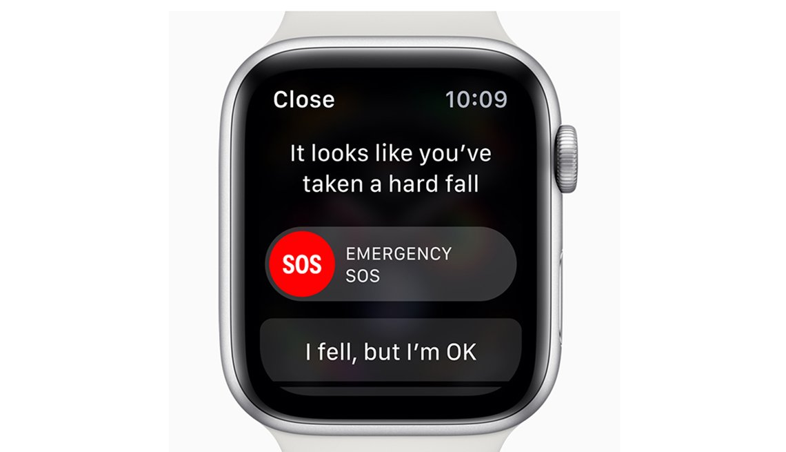New Apple Watch Series 4 showing a fall alert notification