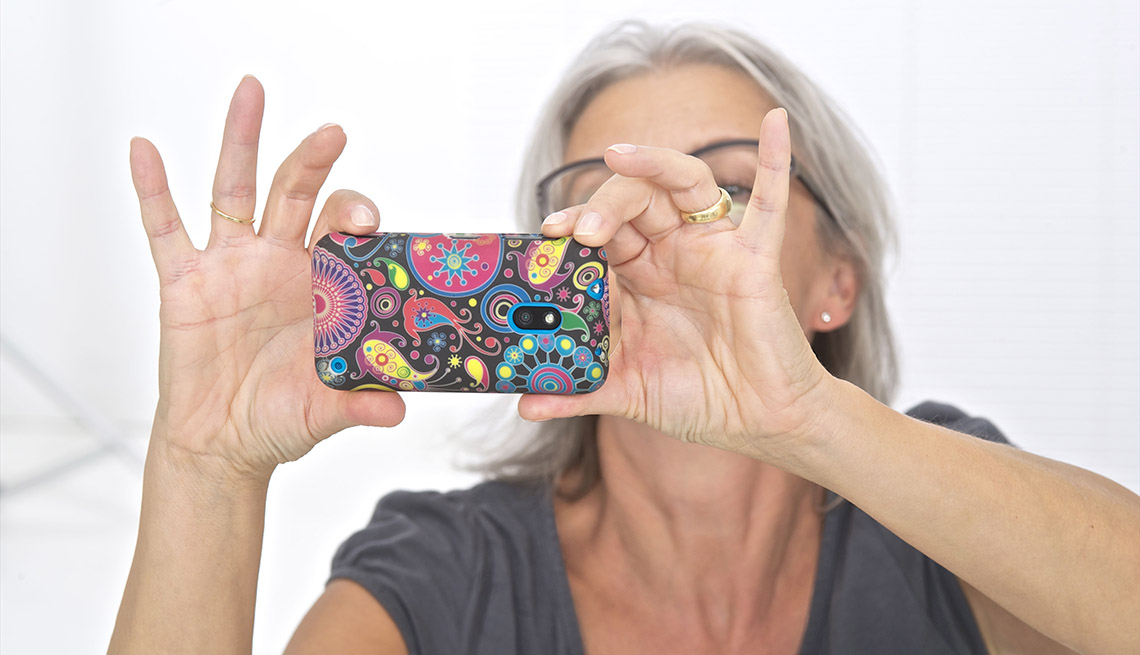 older woman talking a selfie