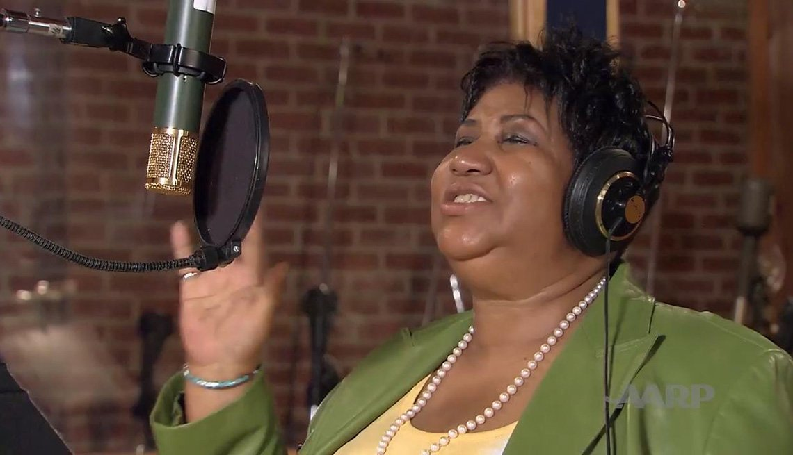 Aretha Franklin, Queen of Soul, records music at a studio