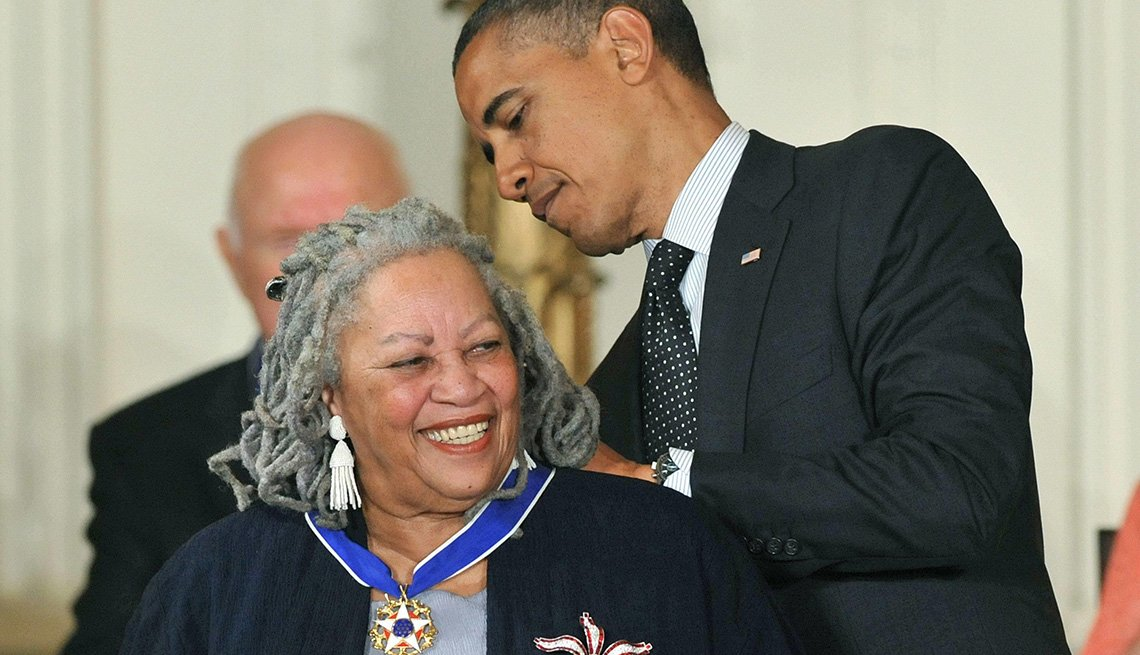 President Barack Obama awards the Presidential Medal of Freedom to Author Toni Morrison during a ceremony