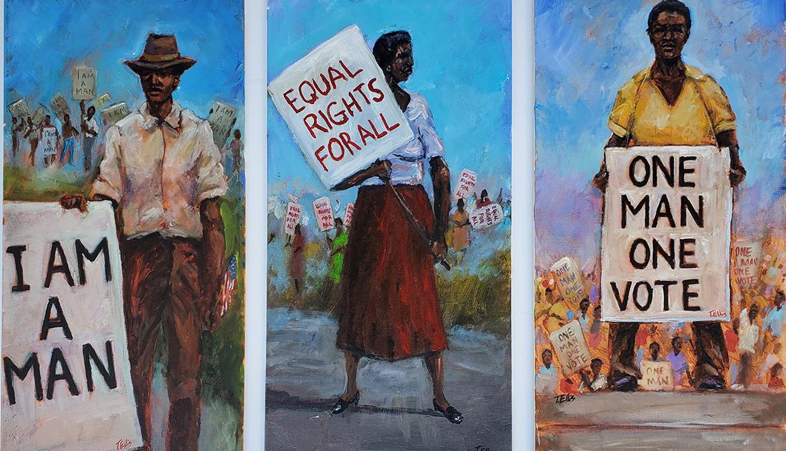 Tres pinturas de personas sosteniendo carteles de protesta por los derechos civiles