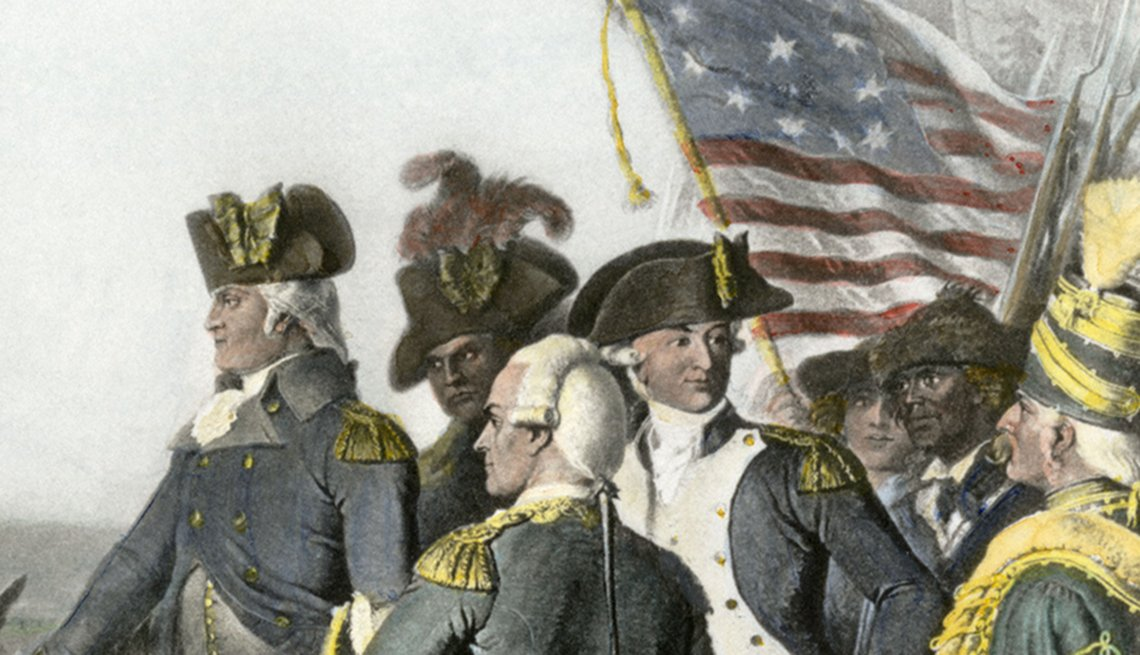 Surrender of British army under commander Cornwallis to Washington and Rochambeau at Yorktown ending the Revolutionary War. Hand-colored engraving
