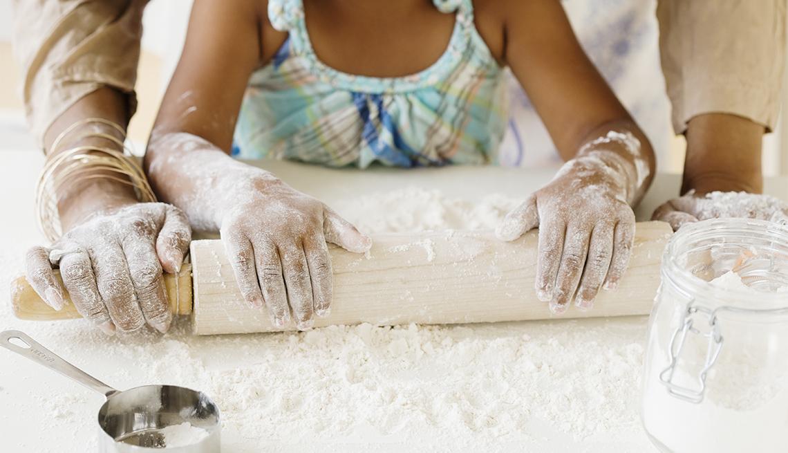 grandmother, granddaughter baking
