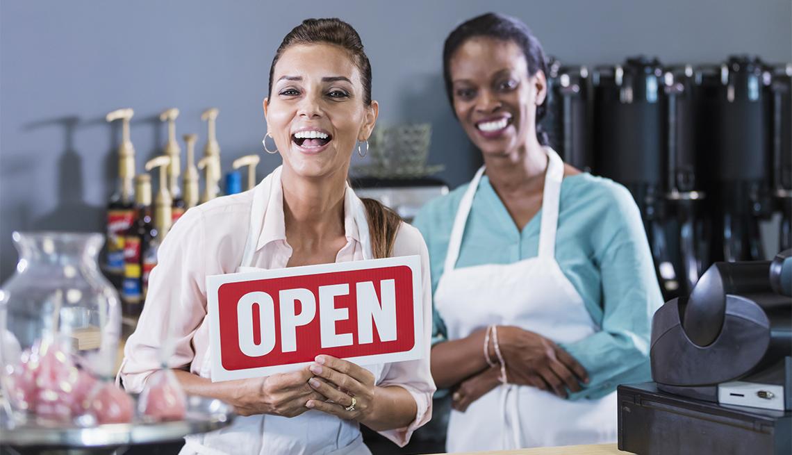 Two women working in a coffee shop