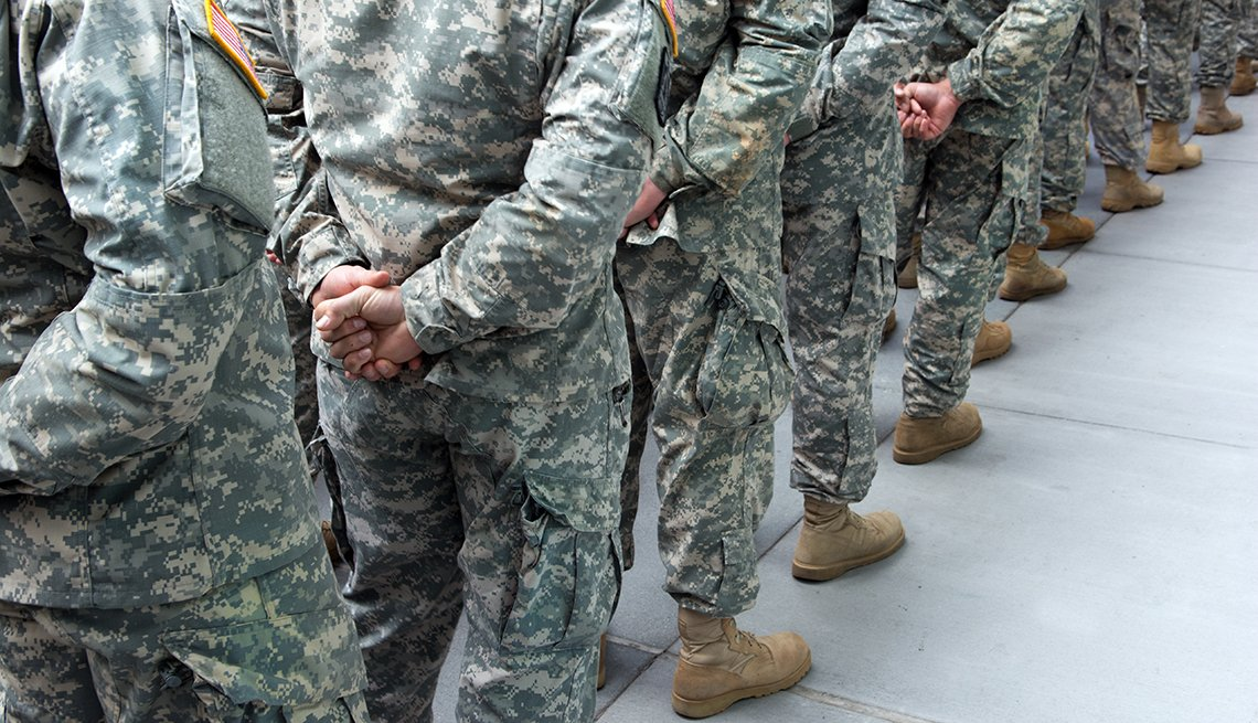 Soldiers standing in line