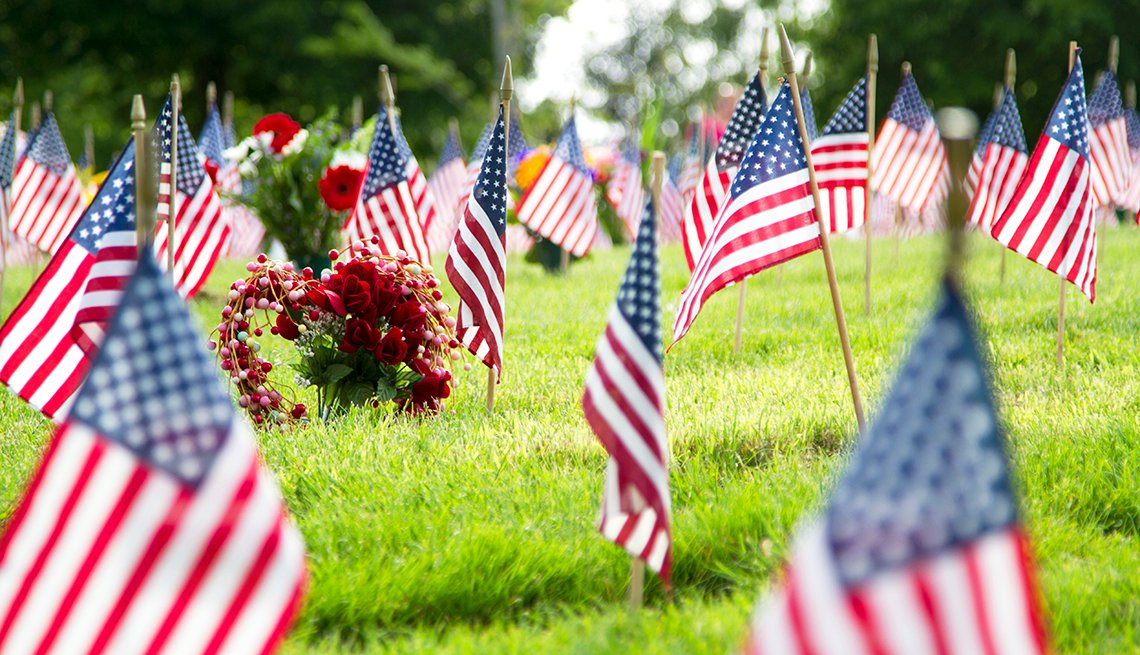 American flags at a graveyard