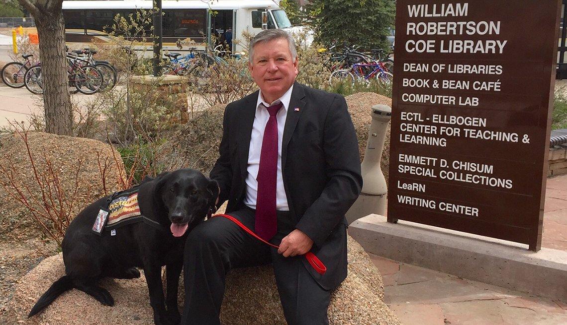 Tony Seahorn with his service dog