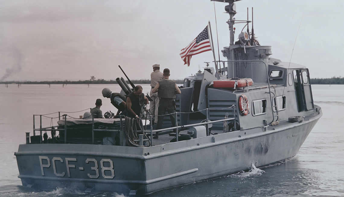 A boat patrols off the coast of south Vietnam
