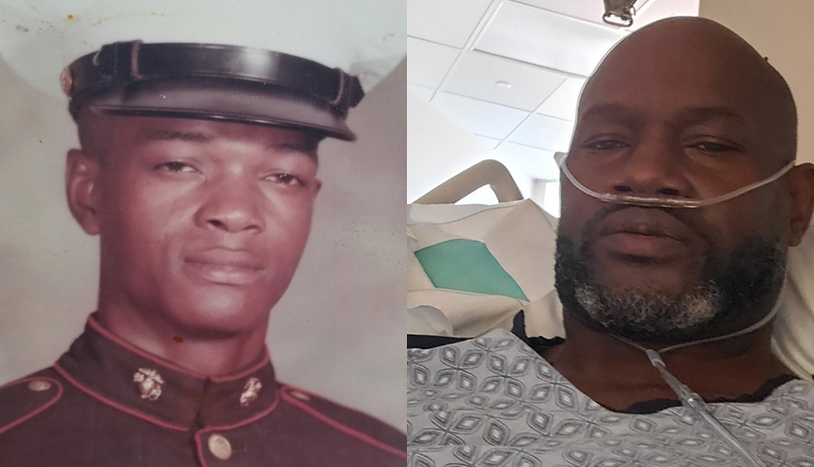 Left: Miliary photo of Thomas Bowman, Sr. and Right:  Thomas Bowman, Jr. in the hospital