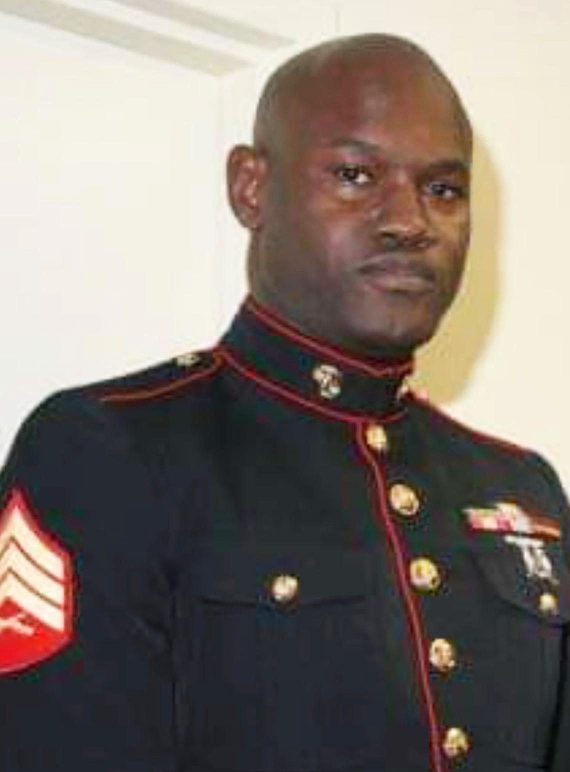 Photo of Thomas Bowman, Jr.. dressed in Marine's uniform