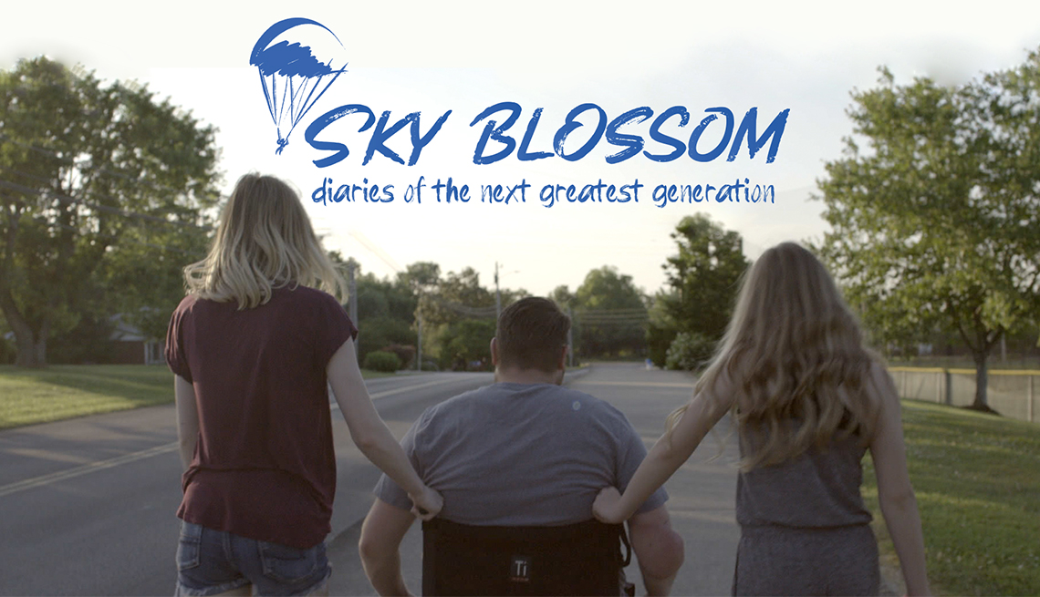A banner for the film Sky Blossom