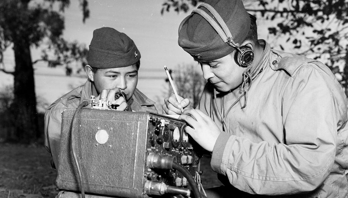 Photograph of Navajo Indian Code Talkers Preston Toledo and Frank Toledo