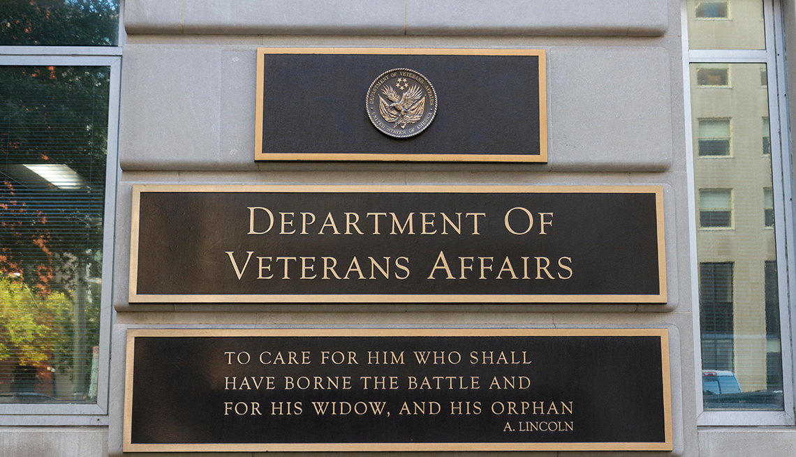 close up of the building sign outside the Department of Veterans Affairs offices in Washington DC