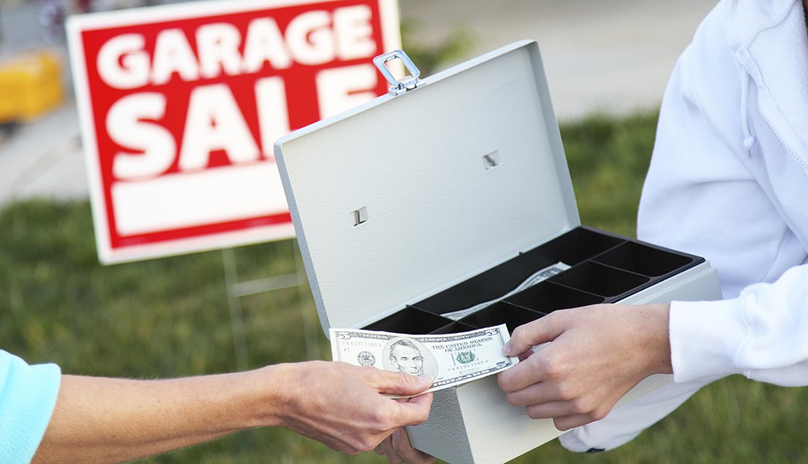 People Exchange Money At Garage Sale, Yard, Outdoors, AARP Home And Family, Queen Of Clutter