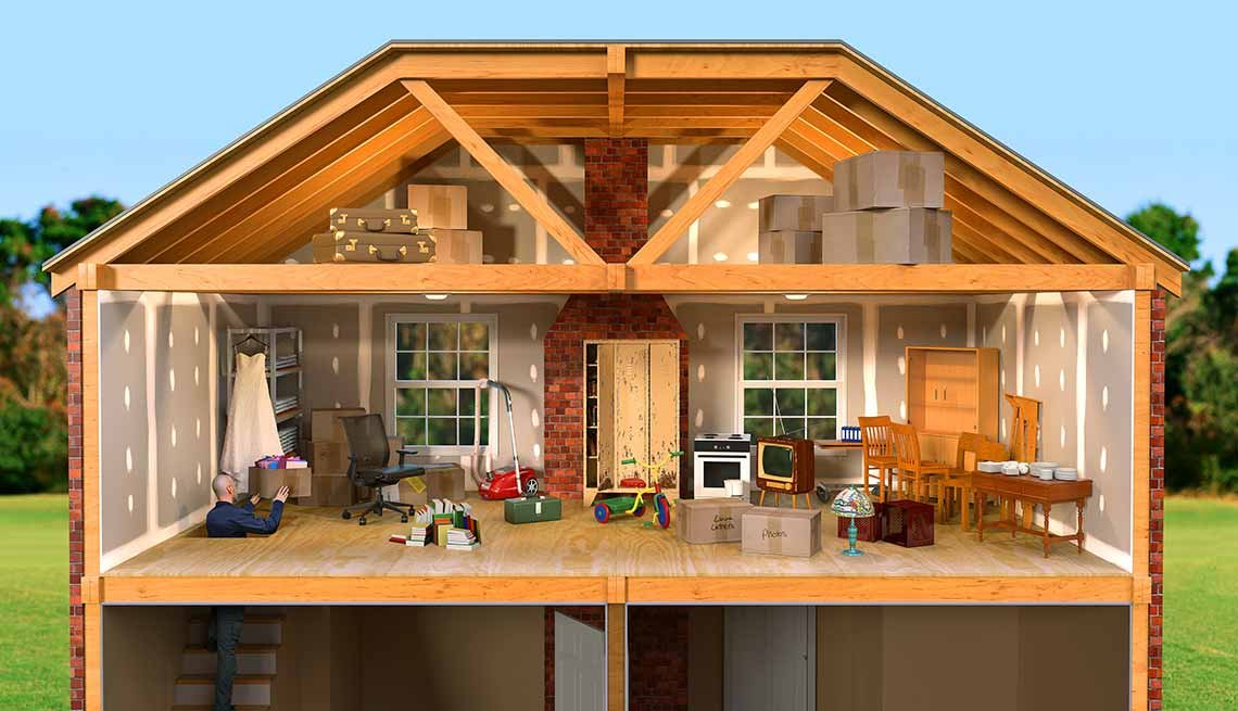 Interior Of A Child's DollHouse Showing The Living Room And Attic Spaces, AARP Home And Family, Declutter Your Home